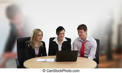 Corporate team working together - Sales team working in...