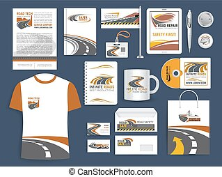 Brand or company corporate identity vector templates for safety road construction or repair corporation, transportation, travel and tourism agency. Branded accessories apparel and office stationery set