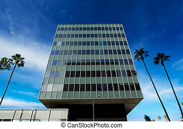 Corporate tower in the shape of a giant cube