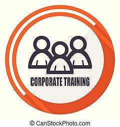 Corporate training flat design orange round vector icon in eps 10