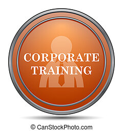 Corporate training icon. Orange internet button on white...
