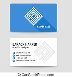 Corporate vector business card with labyrinth symbol
