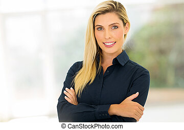 corporate worker standing in office