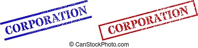CORPORATION Grunge Rubber Seal Stamps with Rectangle Frame