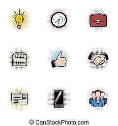 Corporation icons set, pop-art style