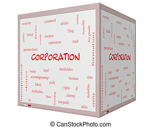 Corporation Word Cloud Concept on a 3D cube Whiteboard