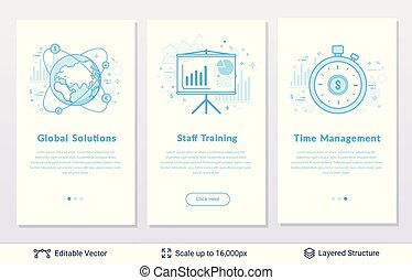Corporative management symbols. - Modern styled banners for...