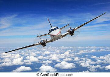 corporativo, aeroplano, volo