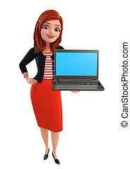 corporativo, computador portatil, dama, joven