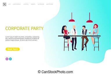 corporativo, fiesta, compañeros de trabajo, sentarse, tabla, y, bebida