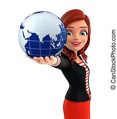 corporativo, globo, dama, joven