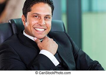corporativo, indiano, lavoratore, ufficio, seduta