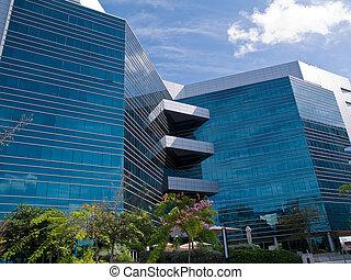 corporativo, moderno, edificio de oficinas