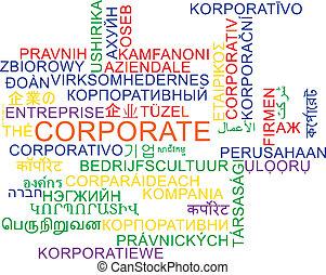 corporativo, wordcloud, concetto, multilanguage, fondo