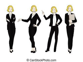 corps, affaires femme, couleur plein, blond