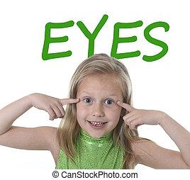 corps, apprentissage, girl, école, peu, yeux, elle, pointage, mignon, parties