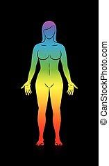 corps, arc-en-ciel, noir, coloré, femme