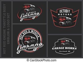 corps, badges., ensemble, commande puissance, illustration., voiture classique, tige, emblèmes, chaud, vecteur, logo