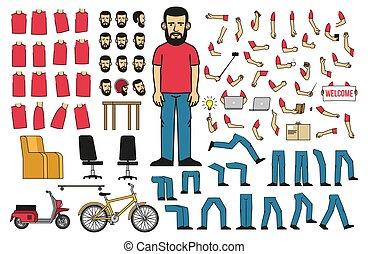 corps, barbu, objets, créer, parties, homme