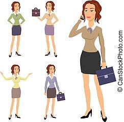 corps beau, différent, brunette, femme affaires, trois, illustration, gestes, poser, confection, lunettes