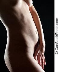 corps, beau, femme, jeune, dénudée, mouillé