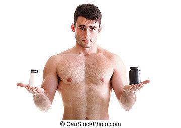 corps, biceps, sien, athlétique, constructeur, boîtes, suppléments, tenue, sexy, mâle