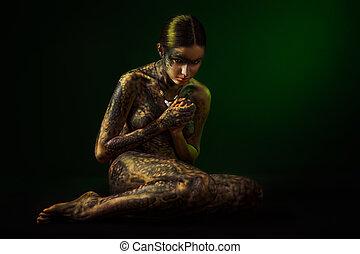 corps, brunette, femme, art