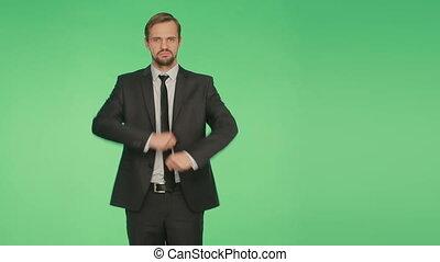 corps, business, language., arrière-plan vert, complet, homme