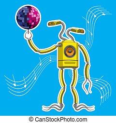 corps, caractère, robot, disco, vecteur, orateur, tenue, graphics., ball.