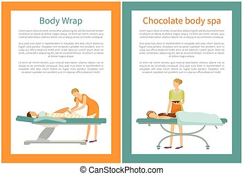 corps, chocolat, vecteur, jambes, emballer, spa, femmes