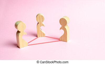 corps, coeur, figures, amour, formulaire, lovers., gens, amour, concept., relations, trois, moitiés, lines., connecté, unrecognized, triangle, voids, intérieur, confrontation
