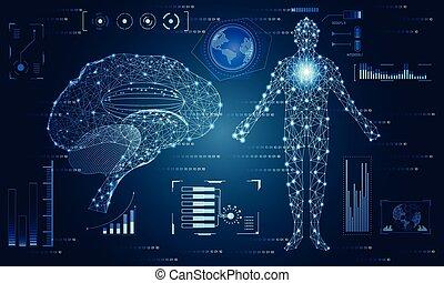 corps, concept, calculer, résumé, cerveau, conception, humain, communication technologie, santé, numérique, technologie, hud, éléments, innovation, salut, fond, interface, données, diagramme, avenir, ui, hologramme, futuriste