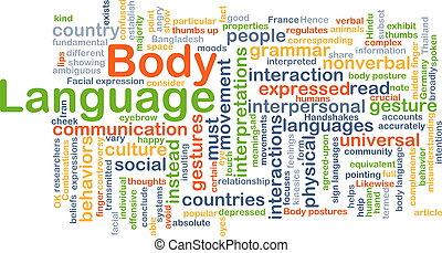 corps, concept, langue, fond