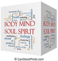 corps, concept, mot, esprit, âme, cube, esprit, nuage, 3d