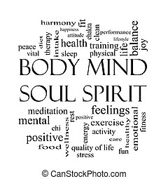corps, concept, mot, esprit, âme, noir, blanc, esprit, nuage