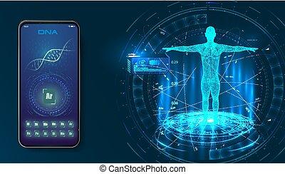 corps, concept, santé médicale, humain, futuriste