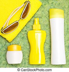 corps, cosmétique, sunscreen, produits, peau, figure, soin