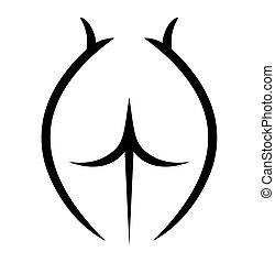 corps, dénudée, croquis, femme