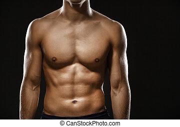corps, dénudée, male's, haut fin