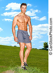 corps, debout, entiers, musculaire, herbe, homme
