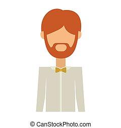 corps, demie face, sans, complet, formel, homme, barbe