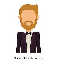 corps, demie face, sans, complet, homme, barbe