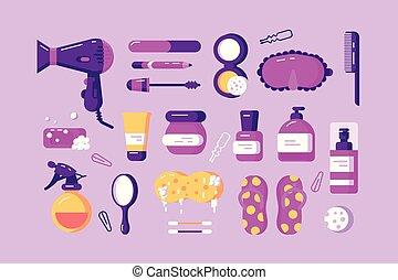 corps, différent, ensemble, accessoires, soin