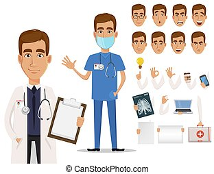 corps, docteur, jeune, émotions, parties, professionnel, ...