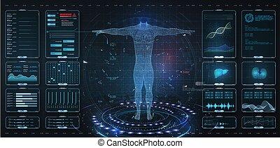 corps, elements., gui, ui, élément, moderne, examination., hud, humain, balayage, style., ensemble, adn, style, exposer, interface, virtuel, examen, ecg, anatomie, formula., moniteur, monde médical