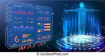 corps, elements., moniteurs, ui, élément, moderne, examination., diagrammes, infographic, hud, style., ensemble, gui, ui, exposer, tableau bord, interface, virtuel, examen, statistiques, hologram., données, monde médical