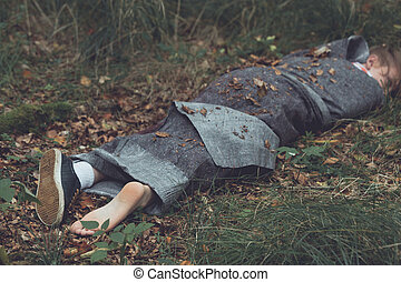 corps, emballé, meurtre, victime, feuilles