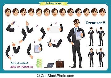 corps, ensemble, elements., caractère, isolé, poses, white., homme affaires, gestes