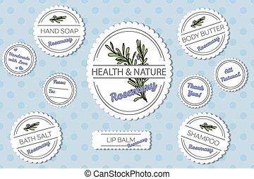 corps, ensemble, naturel, étiquettes, bain, produits,...