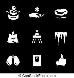 corps, ensemble, vecteur, icons., gel